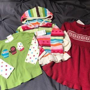 Gymboree 2T shirt, 2T sweater & 18-24 months dress